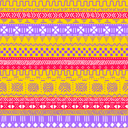Colorful geometric african tribal seamless pattern, vector