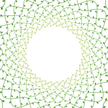 Green elegant floral ivy vines with leaves frame, spring template, vector illustration