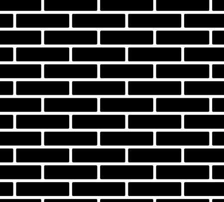 Black and white simple brick wall, seamless pattern, vector background