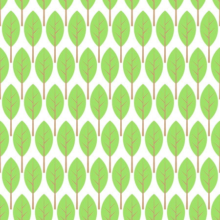 Pastel green and white young thin trees garden, spring seamless pattern, vector background Illustration