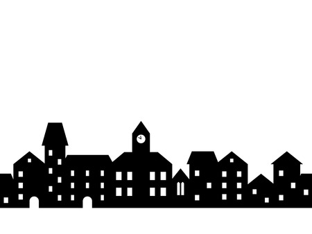 Black and white houses and buildings small town street seamless border, vector illustration