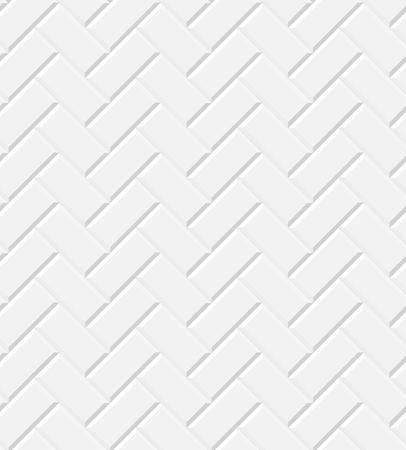 Weiße glänzende U-Bahn-Fliesen Fischgrätmuster Wand nahtlose Muster, Vektor-Hintergrund