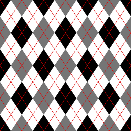 Black and white argyle geometric checkered seamless pattern, vector illustration