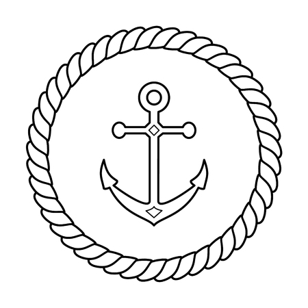 Black and white navy rope frame with an anchor linear vector illustration 일러스트