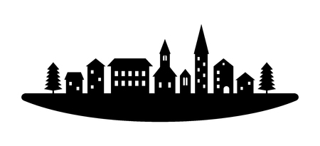Black and white houses and buildings small town street, vector template illustration