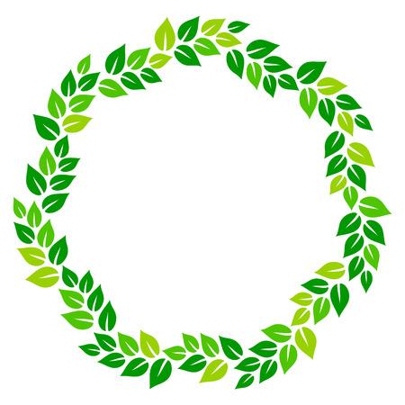 Fresh green leaves on white circle frame, vector illustration