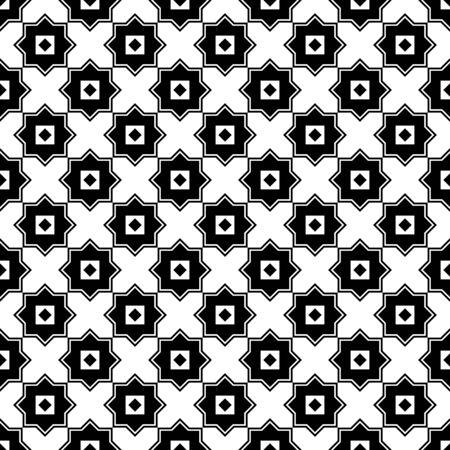 Black and white geometric arabic square shapes seamless pattern, vector Çizim