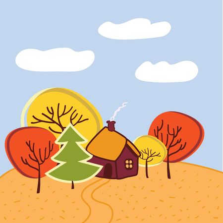 Small house with the garden, between autumn yellow and red trees, smoke coming from the chimney, on a sunny autumn day, vector