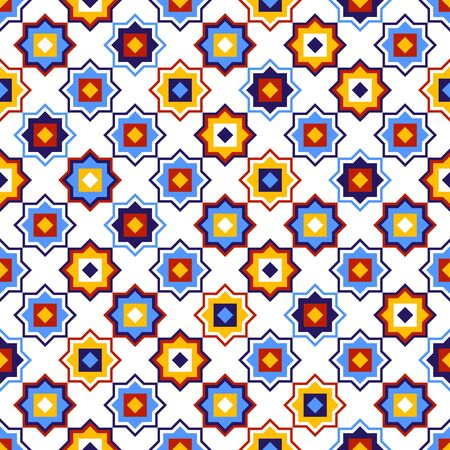 Blue yellow and red geometric arabic square stars shapes seamless pattern on white, vector background