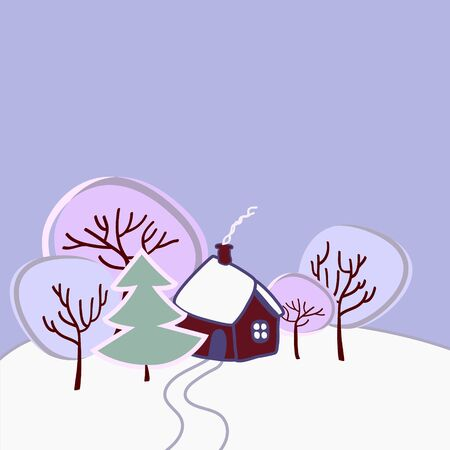 Lonely small house with the trees, smoke coming from the chimney, lots of snow around, on a cold winter day, vector  イラスト・ベクター素材
