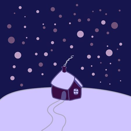 Lonely little house cabin on the top of the hill, on a cold snowy winter night, dark sky. Smoke going from the chimney, snowflakes falling. Christmas holidays at home vector.