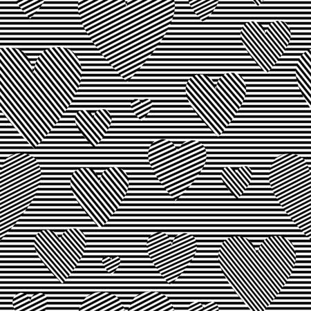 Black and white simple striped hearts geometric seamless pattern, valentines day illustration, vector Vektoros illusztráció