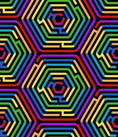 Colorful hexagon maze puzzle on black geometric seamless pattern, vector