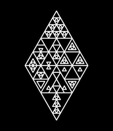 Black and white various triangles geometric ethnic abstract shape, vector
