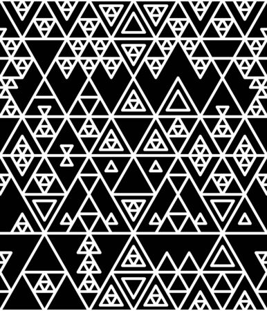 Black and white various triangles geometric ethnic abstract seamless pattern, vector
