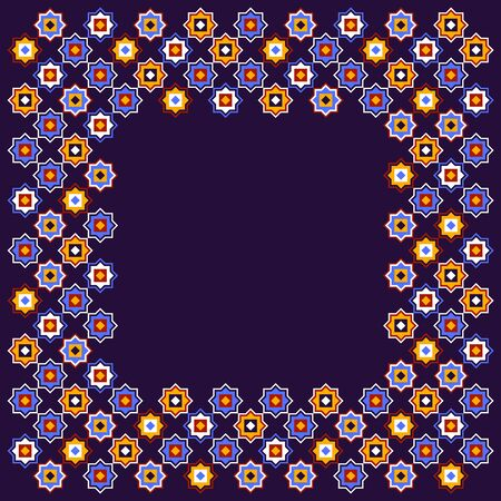 Dark blue and red and yellow colorful geometric arabic star shapes seamless pattern, vector Çizim