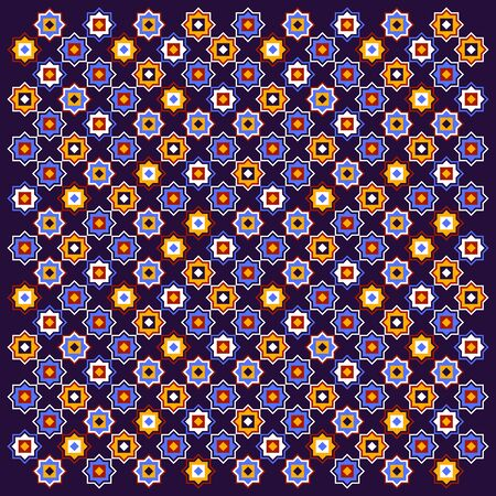 Dark blue and red and yellow colorful geometric arabic star shapes poster, vector