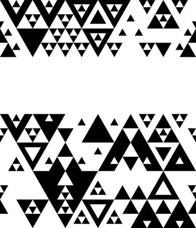 Black and white various triangles geometric abstract template for a flyer, card, banner, packaging, vector