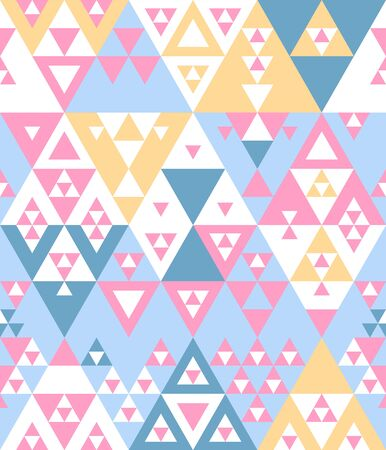 Pastel colored blue pink yellow and white various triangles geometric abstract ethnic seamless pattern, vector
