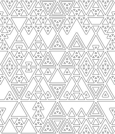 Black and white various triangles thin lines geometric abstract seamless pattern, vector