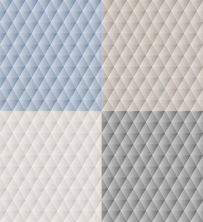 Blue beige, gray, white polygonal triangles simple abstract geometric seamless pattern set in neutral colors, vector