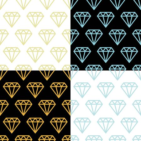 Simple diamonds silver and golden, on black and white wire framed diamond crystals seamless patterns set, vector