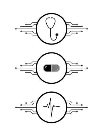 Stethoscope, drug capsule, heartbeat rhythm on circles with printed circuit board microchip lines, smart telemedicine symbols set, vector Çizim