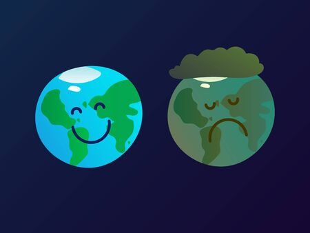 Two planet Earth mascots in the space - happy and clean smiling world, and polluted and sad world, ecological poster, banner, ad, vector