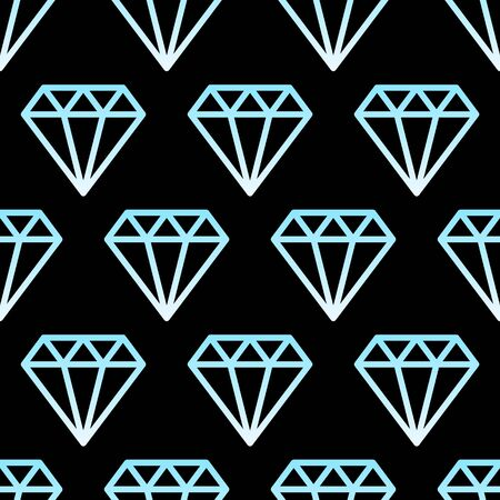 Simple gem stones blue and white on black wire framed diamond crystals seamless pattern, vector