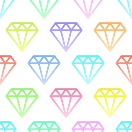 Simple gem stones in pastel colors on white, wire framed diamond crystals collection seamless pattern, vector Çizim