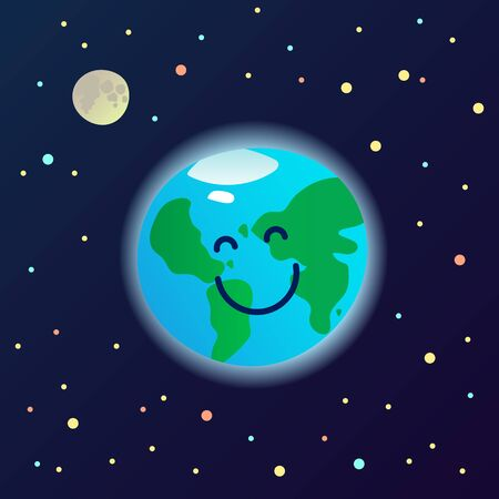Happy planet Earth mascot in the space - healthy and clean smiling world, ecological card poster, banner, ad template, vector