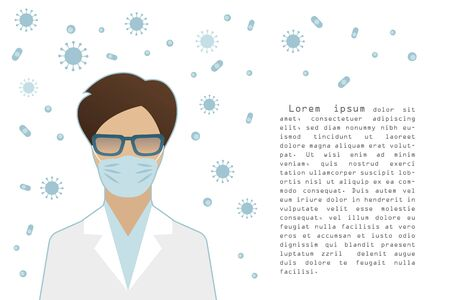 Flat style female doctor wearing a surgical mask, blue viruses and bacterias symbols flying around, epidemic control concept, banner poster template with text, vector