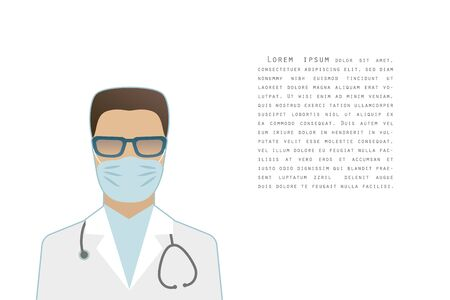Flat style male doctor wearing glasses and a surgical mask, with a stethoscope, epidemic control concept, banner poster template with text, vector