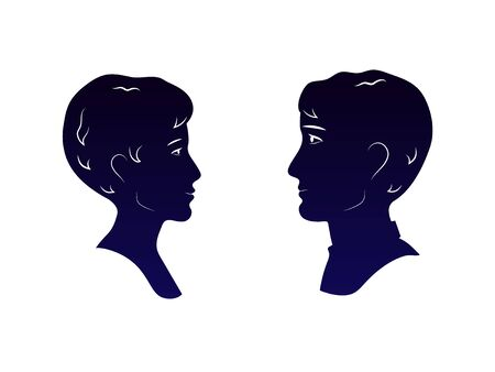 Young man and woman heads dark blue profiles silhouettes looking each other in the eyes, romantic date vector