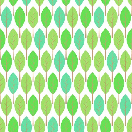 Pastel green, blue and white young thin trees garden, forest, nature spring seamless pattern, vector