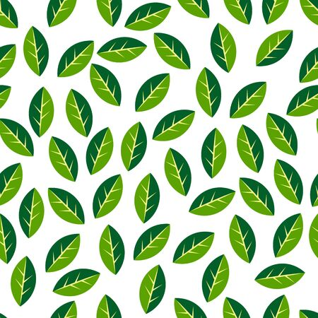 Green and white simple geometric leaves scattered chaotically, springtime nature texture, seamless pattern, vector
