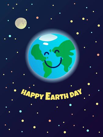 Happy Earth Day, planet mascot in the space - healthy and clean smiling world, ecological greeting card template, poster, banner, ad, vector illustration