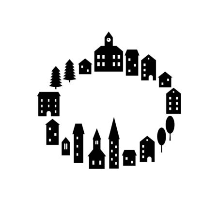 Black and white simple houses and buildings small town empty square frame template, vector