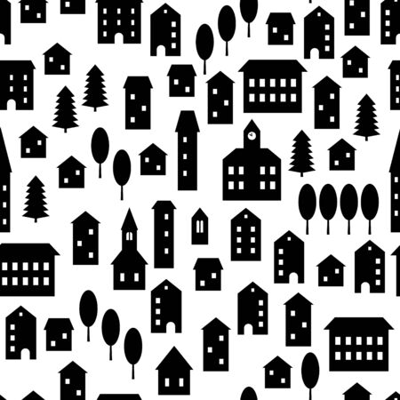 Black and white simple houses and buildings small town empty streets seamless pattern, vector