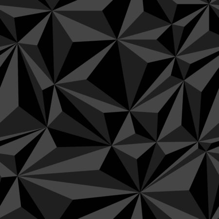 Black crumpled paper simple polygonal dark abstract seamless pattern, vector background