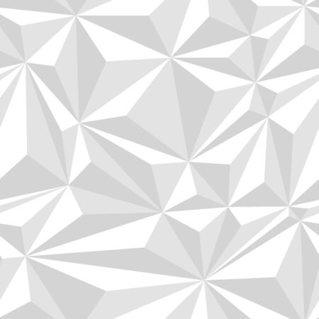 White crumpled paper simple polygonal light abstract seamless pattern, vector background
