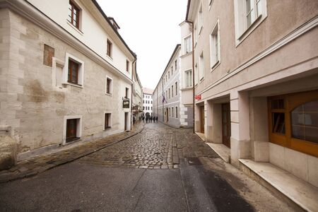Narrow historical streets in old town Bratislava, Slovakia