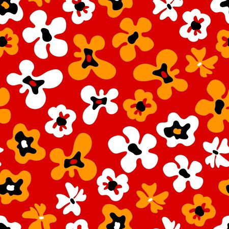 Large colorful white and orange bold flowers on red, seamless pattern, vector Çizim