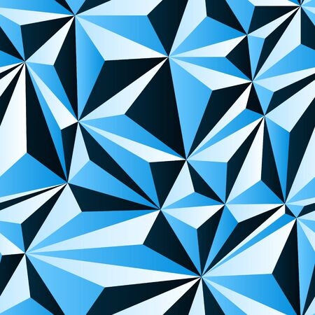 Black white and blue crumpled paper simple polygonal abstract seamless pattern, vector background