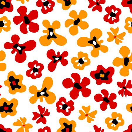 Large colorful bold red and orange flowers on white seamless pattern, vector background