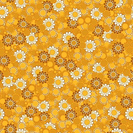 Colorful simple yellow and golden daisy flowers seamless pattern, vector background