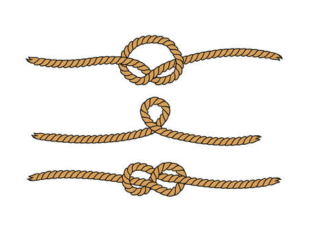 Natural brown marine knots twine rope seamless pattern, vector