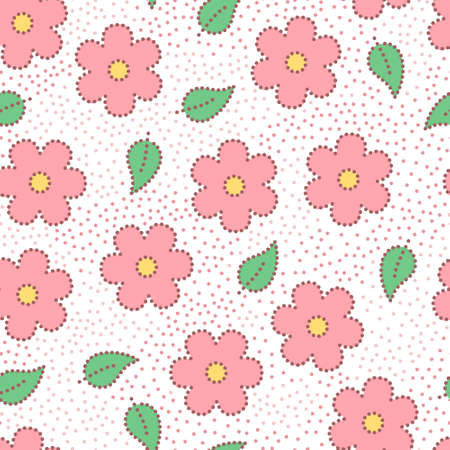 Pastel colored pink doted sakura flowers and leaves seamless pattern, vector