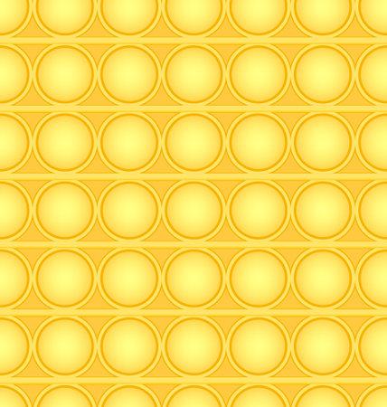 Pop-it viral fidget toy yellow seamless pattern, vector
