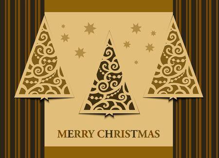 Postcard three Christmas trees retro Stock Vector - 16700042